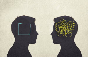 Contrast between man with tangled line inside of head and man with empty square inside head