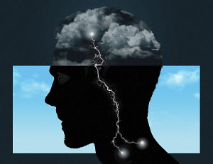 Thunder and lightning inside of man's profile