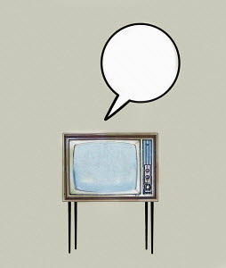 Speech bubble from old fashioned television