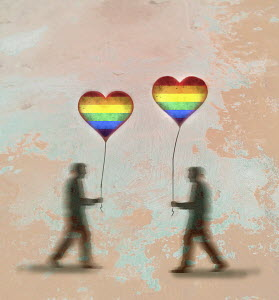 Gay men with heart shaped rainbow balloons walking towards each other