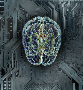 Wires forming human brain on circuit board