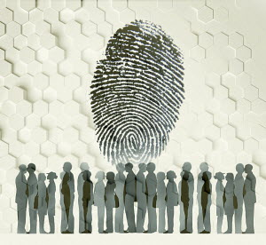 Large fingerprint above group of people