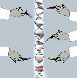 Scientists injecting DNA double helix