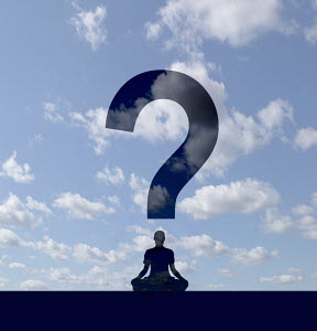 Woman meditating forming question mark