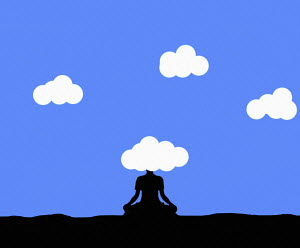 Woman meditating with head in the clouds