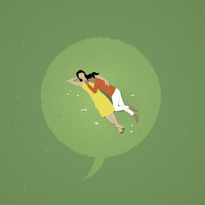 Speech bubble over female couple lying down in grass