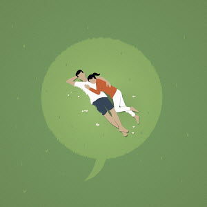 Speech bubble over couple lying down in grass