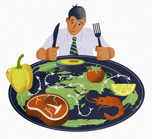 Man with plate of food from all around the world