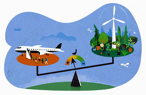 Scales weighing up air travel versus the environment