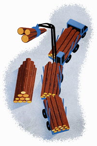 Overhead view of logging truck