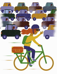 Happy cycling overtaking frustrated drivers in traffic jam