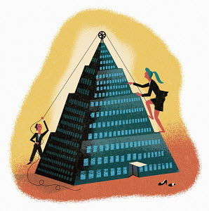 Businessman helping businesswoman climb to top of office pyramid