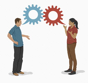 Man and woman discussing with cog speech bubbles
