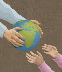 Man's handing over the earth to young girl