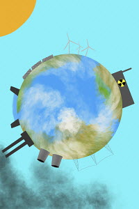 Globe with green and polluting ways of generating electricity