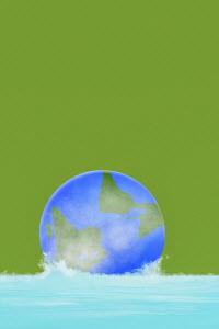 Globe sinking in water