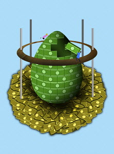 Couple building nest egg with banknote bricks