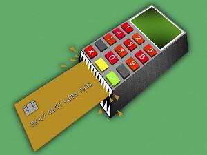 Credit card reader crunching credit card