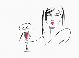 Sketch of beautiful woman with glass of wine
