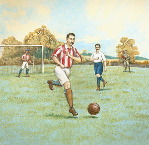 Vintage style illustration of football game