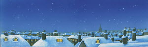 Starry sky above snowy rooftops in London