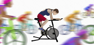 Woman training on exercise bike imagining racing