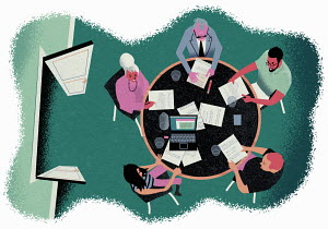 Overhead view of people in office meeting
