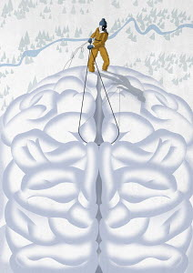Man abseiling from brain