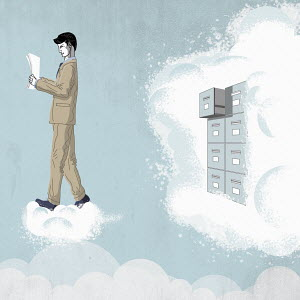 Man reading document from filing cabinet in cloud