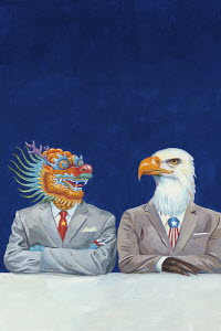 Chinese dragon and American Bald Eagle businessmen sitting side by side