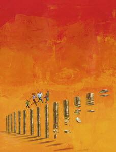 Family running across diminishing pile of money