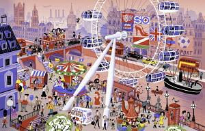 Busy iconic London scene