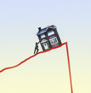 Man struggling to push house up line graph oblivious to imminent fall