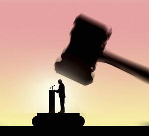 Public speaker under judge's gavel