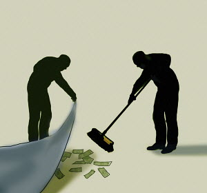 Two men sweeping money under the carpet