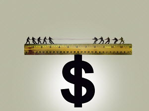 Tug of war on top of ruler balanced on dollar sign