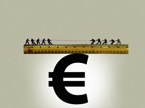 Tug of war on top of ruler balanced on euro sign