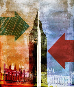 UK Houses of Parliament divided with arrows in opposite directions
