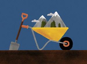 Mountains in wheelbarrow