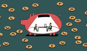 Man meeting financial adviser inside of piggy bank