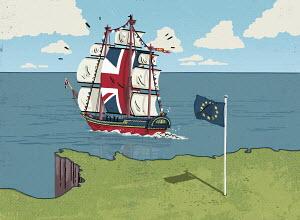 United Kingdom ship sailing away from European Union