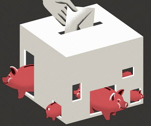 Piggy banks in ballot box