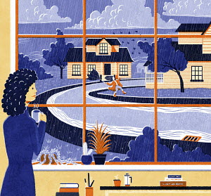 Woman looking out of window at stormy weather