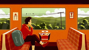 Man with rucksack looking out of train window