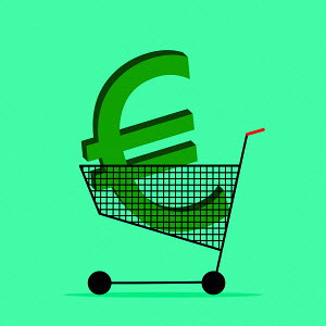 Euro sign in shopping trolley