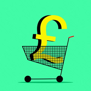 Pound sign in shopping trolley