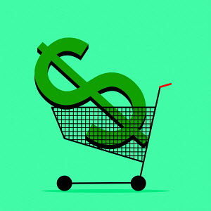 Dollar sign in shopping trolley