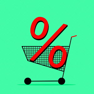 Percentage sign in shopping trolley