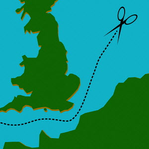 Scissors cutting dotted line separating Britain from Europe