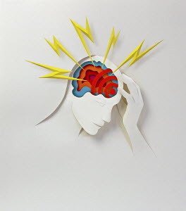 Paper cutout of someone with headache